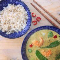 Thaise groene curry met garnalen. Makkelijk gezond Oosters recept met Original spices van Jonnie Boer